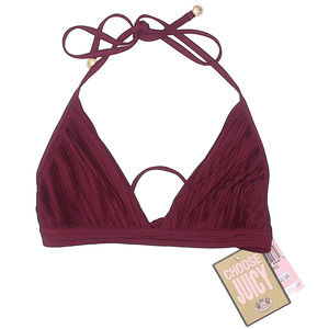 Juicy Couture Burgundy Pleated Swimsuit Bikini Top